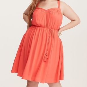 NWT Coral Embroidered Gauze X-back Dress